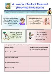 English Worksheet: Sherlock Holmes case I: Reported speech (statements, orders, questions)