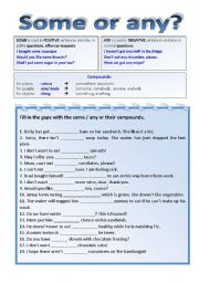 English Worksheets: Some or any? Gap-fill-in and matching