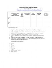 English Worksheet: Political Ad Analysis Worksheet  (Media Literacy/Politics)