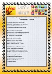 English Worksheet: GLEE SERIES � SONGS FOR CLASS! S01E19 � FOUR SONGS � FULLY EDITABLE WITH KEY!