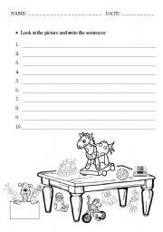 English Worksheet: in, on, under