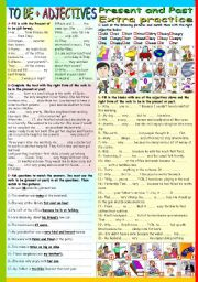 English Worksheet: THE VERB TO BE (PRESENT AND PAST) + ADJECTIVES (B&W VERSION+KEY INCLUDED)