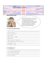 English Worksheet: easy test about sports + can - version B