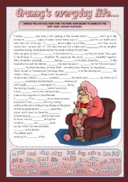 English Worksheet: GRANNY�S EVERYDAY LIFE...