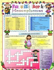 English Worksheet: Fun with Words Part 2 - Homophones