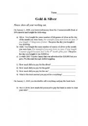 English Worksheets: Gold and Silver - numeracy task