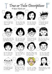 English Worksheets: True or False Descriptions