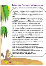 English Worksheet: Robinson Crusoe�s Adventures_reading comprehension and wordsearch