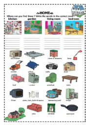 English worksheet: home