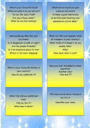 English Worksheet: Speaking cards for examination/ speaking activity