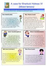 English Worksheet: Sherlock Holmes case VI: Mixed tenses