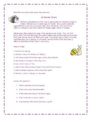 English Worksheet: An Easter Story