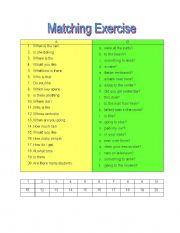 English Worksheets: Matching Exercise
