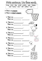 English Worksheets: WRITE SENTENCES + ADJECT.