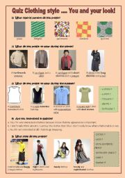 Quiz Clothing Style You And Your Style Fully Editable