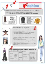English Worksheet: CLOTHES COMPARISON (fashion show debate : what model do you prefer ?) *Key answers § fully editable*