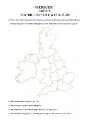 English Worksheet: Webquest about the British Life and Culture