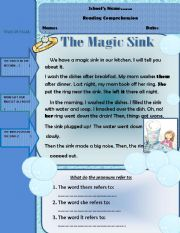 English Worksheets: THE MAGIC SINK( RE UPLOADED)