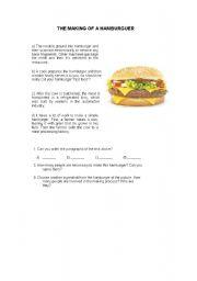 English Worksheet: the making of a hamburger
