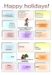 English Worksheets: Discussion activity - Happy holidays 1