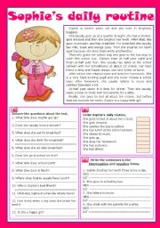 English Worksheets: Sophie�s daily routine