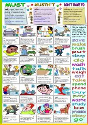 English Worksheet: MUST-MUSTN´T-DON´T HAVE TO (B&W VERSION+KEY INCLUDED)