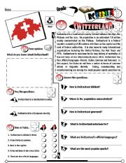 English Worksheet: RC Series_Level 01_Country Edition 08 Switzerland (Fully Editable + Key)