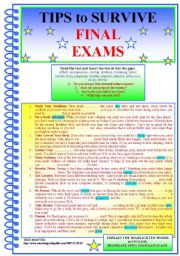 English Worksheets: Tips to SURVIVE FINAL EXAMS