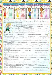 English Worksheet: PERSONAL PRONOUNS (SUBJECT-OBJECT) -POSSESSIVE ADJECTIVES AND PRONOUNS- REFLEXIVE PRONOUNS (KEY INCLUDED)