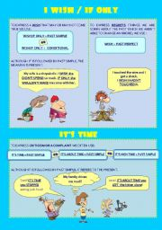 English Worksheet: I WISH, IF ONLY, IT�S TIME - RULES, EXPLANATION AND KEY
