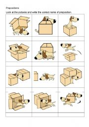 English Worksheet: Look at the pictures and write the correct name of preposition