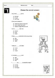 English worksheets: REVIEW: VOCABULARY AND GRAMMAR YEAR 6
