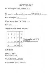 English Worksheets: Trinity Grade 1