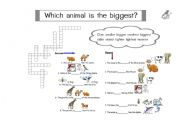 English Worksheets: Which animal is the biggest?