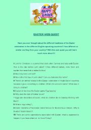 English Worksheet: EASTER WEB QUEST
