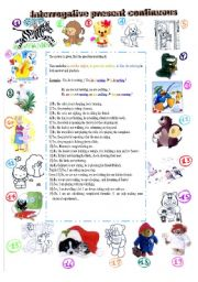 English worksheet: interrogative present and preterit continuous