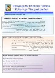English Worksheet: Sherlock Holmes case XXV Follow-up: Exercises on the past perfect