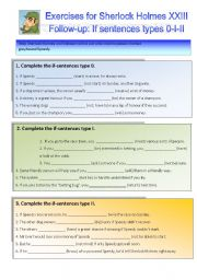 English Worksheets: Sherlock Holmes case XXIII Follow-up: If sentences 0 - I - II
