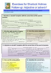English Worksheets: Sherlock Holmes case XIV Follow-up: Exercises on adjective or adverb