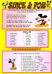 English Worksheets: FOR and  SINCE