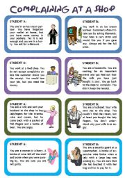 English Worksheet: Role play for intermediate students: Complaining at a shop