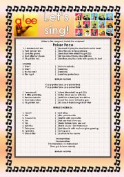 English Worksheet: GLEE SERIES �SONGS FOR CLASS! S01E20 � THREE SONGS � FULLY EDITABLE WITH KEY! � PART 2/2