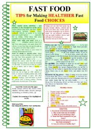 English Worksheet: FAST FOOD (Tips for making HEALTHIER fast food choices)
