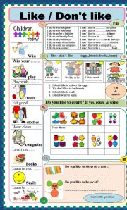 English Worksheets: Like / Don�t like