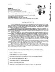 English Worksheets: Body Language-How to detect lies?