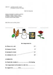 English Worksheet: SEASONS AND TEMPERATURE