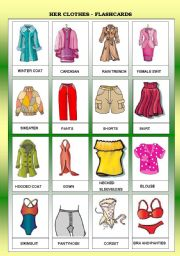 HER CLOTHES - FLASHCARDS - FOR BEGINNERS - B&W