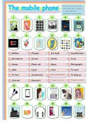 English Worksheet: THE MOBILE PHONE MATCHING
