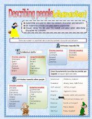 English Worksheet: Describing people (character and behaviour)