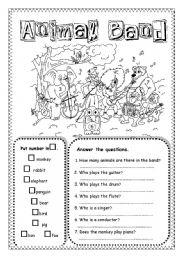 English Worksheets: Animal Band